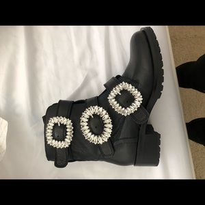 Aldo big crystal buckled black boots